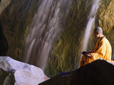 Monk Demonstrating Meditation at Zen Music Shaolin Grand Ceremony, Shaolin, Henan Province, China by Christian Kober