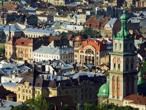 Old Town and the Virgin Marys Assumption Church Bell Tower, from Castle Hill, Lviv, Western Ukraine by Christian Kober