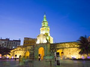 Old Town City Wall and Puerto Del Reloj at Night, UNESCO World Heritage Site, Cartagena, Colombia by Christian Kober