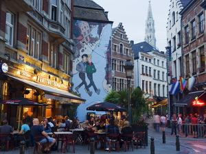 Outdoor Cafes and Brousaille Wall Mural of a Couple Walking Arm in Arm, Brussels, Belgium, Europe by Christian Kober