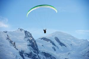 Paragliding Below Summit of Mont Blanc, Chamonix, Haute-Savoie, French Alps, France, Europe by Christian Kober