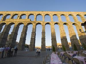 Restaurant Under the 1St Century Roman Aqueduct, Segovia, Madrid, Spain, Europe by Christian Kober