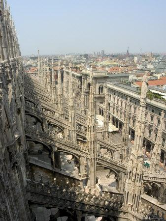 Rooftop Spires of Duomo Cathedral and City, Milan, Lombardy, Italy