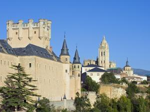 Segovia Castle and Gothic Style Segovia Cathedral Built in 1577, Segovia, Madrid, Spain, Europe by Christian Kober