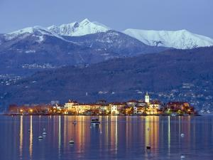 Snow Capped Mountains Above Isola Superiore, Borromean Islands on Lake Maggiore, Piedmont, Italy by Christian Kober