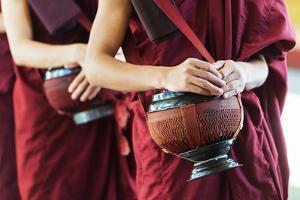 South East Asia, Myanmar, Bago, Kha Khat Wain Kyaung Monastery, Meal Time by Christian Kober