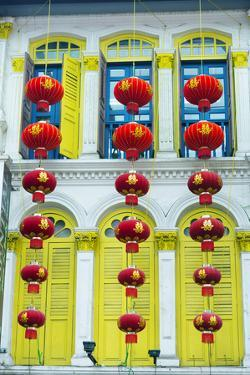 South East Asia, Singapore, Chinatown, Shutters on Colonial Building by Christian Kober