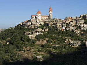 St. Saba Church and Red Tile Roofed Town, Bcharre, Qadisha Valley, North Lebanon by Christian Kober