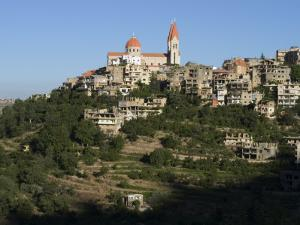 St. Saba Church and Red Tile Roofed Town, Bcharre, Qadisha Valley, North Lebanon by Christian Kober