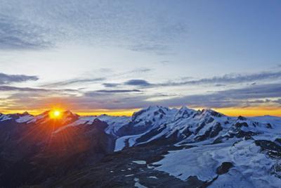Sunrise View of Monte Rosa from the Matterhorn, Zermatt, Valais, Swiss Alps, Switzerland, Europe by Christian Kober