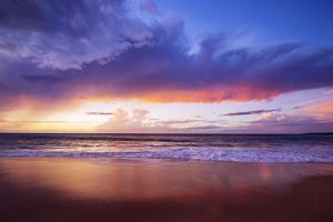 Sunset on Papohaku Beach, Molokai Island, Hawaii, USA by Christian Kober