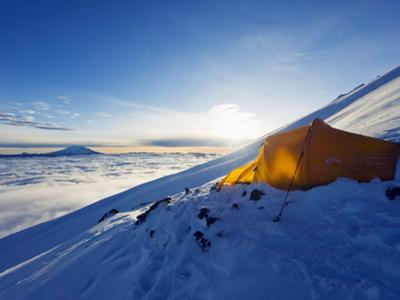 Tent on Volcan Cotopaxi, 5897M, Highest Active Volcano in the World, Ecuador, South America by Christian Kober