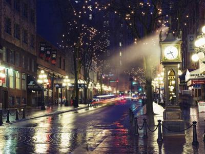 The Steam Clock at Night on Water Street, Gastown, Vancouver, British Columbia, Canada by Christian Kober