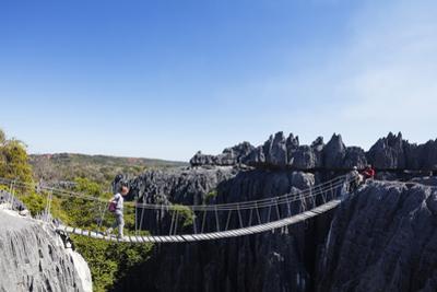 Tourist crossing a rope bridge, Grand Tsingy, Tsingy du Bemaraha National Park, UNESCO World Herita by Christian Kober
