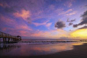 Waimea Bay State Pier at sunset, Waimea, Kauai Island, Hawaii, USA by Christian Kober