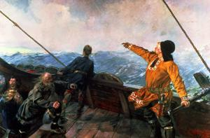Leif Eriksson (10th Century) Sights Land in America, 1893 by Christian Krohg