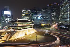 Nandaemun South Gate at Night, Seoul, South Korea, Asia by Christian