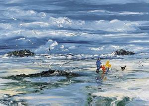Walking on the Beach by Christian Sanseau