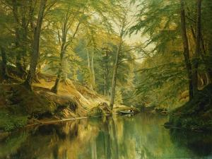 A Wooded River Landscape with Figures in a Boat, 1893 by Christian Zacho