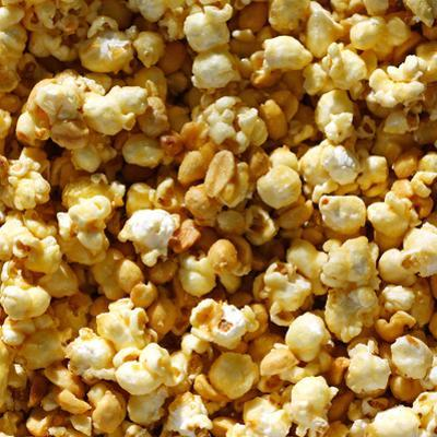 Caramel Popcorn and Peanuts Square Background by Christin Lola