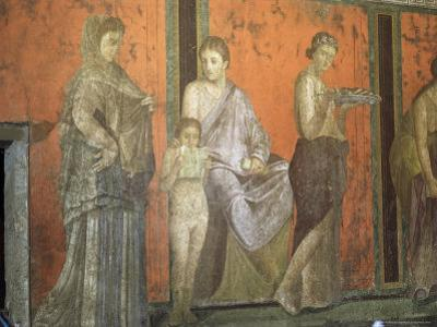 Wall Paintings, Villa of the Mysteries, Pompeii, Unesco World Heritage Site, Campania, Italy