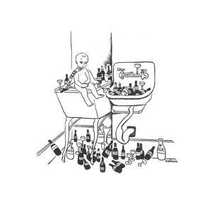 New Year's baby is surrounded by empty liquor bottles. - New Yorker Cartoon by Christina Malman