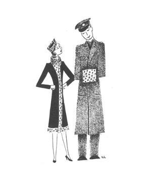 Soldier's hand muff matches his girlfriend's outfit. - New Yorker Cartoon by Christina Malman