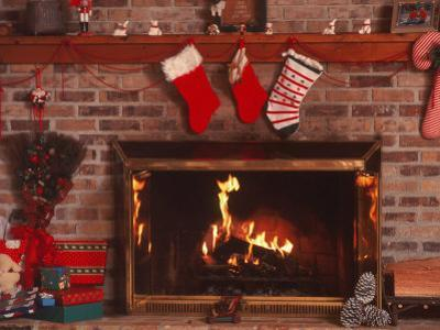 Fireplace with Christmas Stockings by Christine Lowe