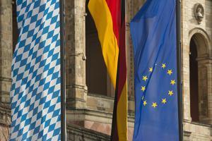 Germany, Bavaria, Munich, flags in front of Bayerischer Landtag (Bavarian State Parliament) by Christine Meder stage-art.de