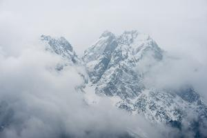 Switzerland, Engadine, view from Pontresina, mountains, fog, by Christine Meder stage-art.de