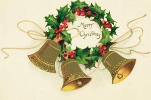 Christmas Card with Wreath of Holly and a Trio of Bells