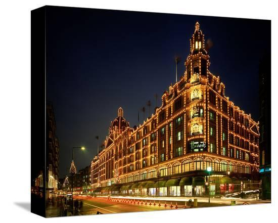 Christmas lights at Harrods, London, South England, Great Britain--Stretched Canvas Print