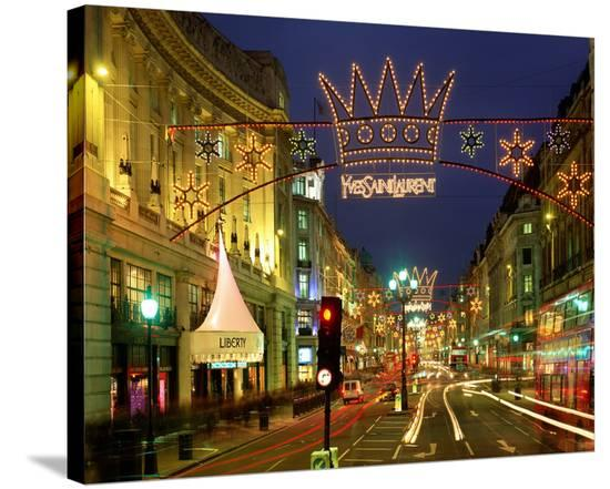 Christmas lights near Liberty in London, South England, Great Britain--Stretched Canvas Print