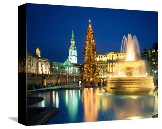 Christmas tree at Trafalgar Square, London, South England, Great Britain--Stretched Canvas Print