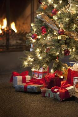 Christmas Tree by Fireplace