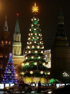 Christmas Trees Rise Just Outside the Moscow Kremlin