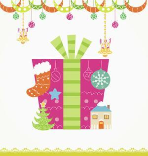 Christmas with Pink Gift Box and Decorations