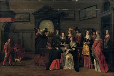 Elegant Company Playing the Game of La Main Chaude in an Interior