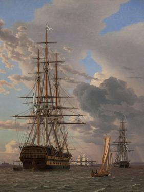 The Russian Ship of the Line Azov and a Frigate at Anchor in the Roads of Elsinore, 1828 by Christoffer-wilhelm Eckersberg