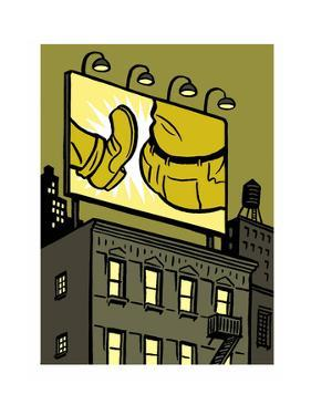 A billboard depicts a butt kick - New Yorker Cartoon by Christoph Niemann