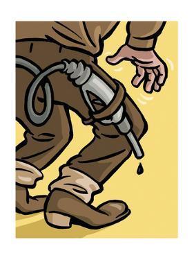 A Cowboy has an oil gun ready to draw - Cartoon by Christoph Niemann