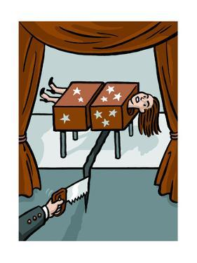 A magician saws through a woman and the floor - Cartoon by Christoph Niemann