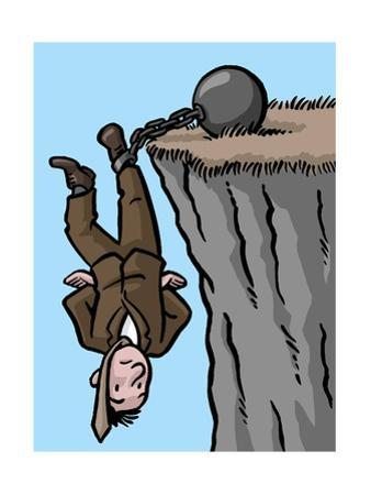 A man is saved by his shackles - Cartoon by Christoph Niemann