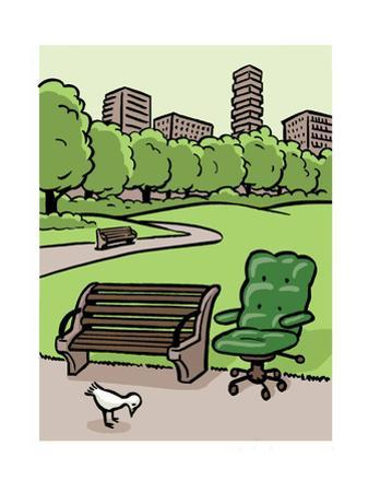 A office chair sits in the park - Cartoon by Christoph Niemann