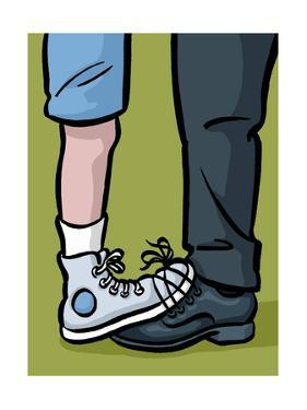 A youth and adult with their shoes tied together - Cartoon by Christoph Niemann