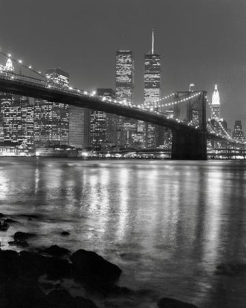 Night View of Brooklyn Bridge and Manhattan Skyline by Christopher Bliss