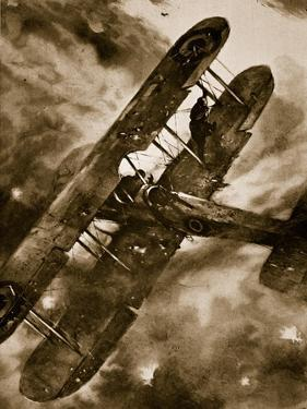 Intrepid British Observer's Balancing Feat in Mid-Air During Heavy Attack of 'Archies', 1914-19 by Christopher Clark