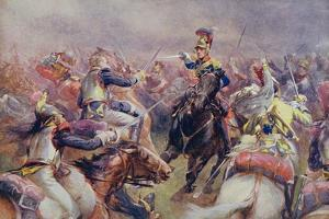 The Charge of the Heavy Brigade Against the French Cuirassiers at Waterloo, from 'British Battles… by Christopher Clark