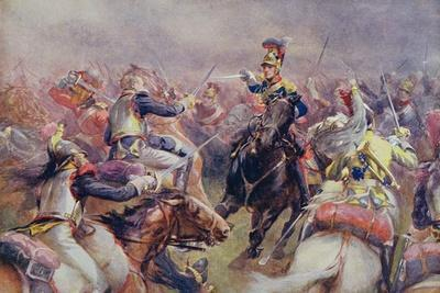 The Charge of the Heavy Brigade Against the French Cuirassiers at Waterloo, from 'British Battles…