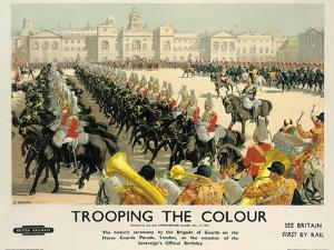 Trooping the Colour, Poster Advertising British Railways, c.1950 by Christopher Clark